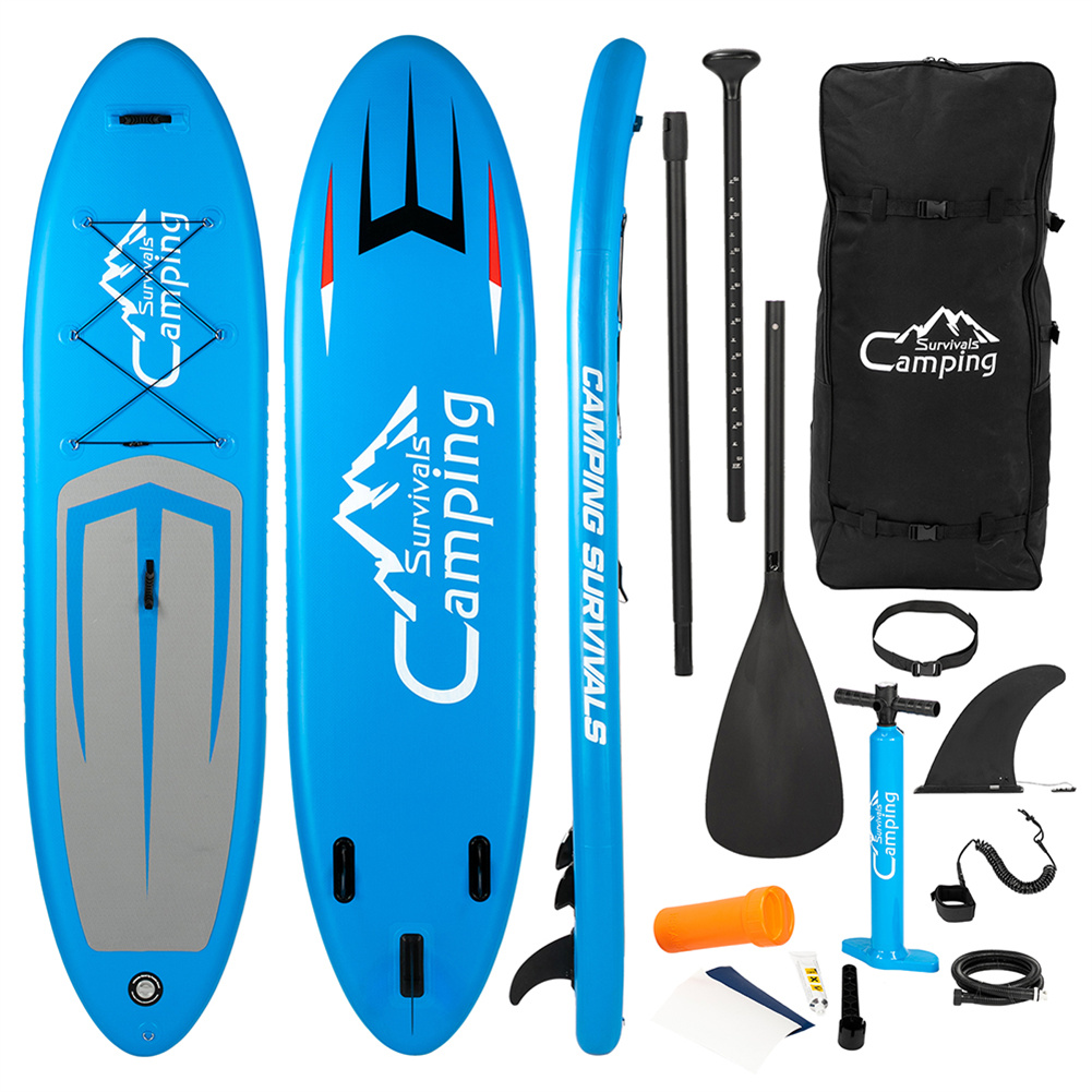 [US Direct] Inflatable Stand Up 11ft Paddle  Board With Removable Fin Surfboard Sup Accessories (Blue Gray) blue