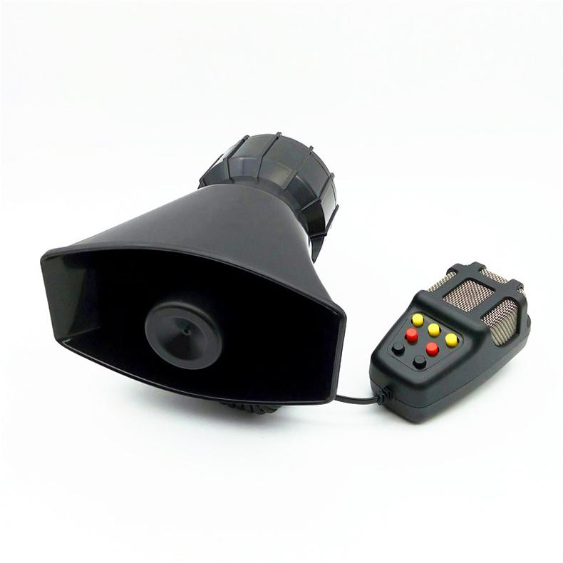12V Car Alarm Horn Tone Sound Car Emergency Siren Car Siren Horn Mic PA Speaker System Emergency Amplifier Hooter black