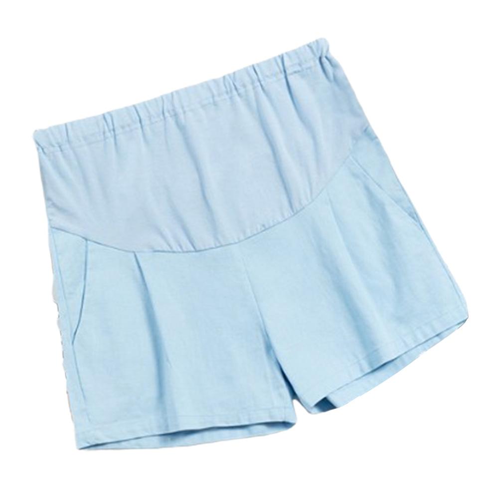 Pregnant Women Summer Shorts Casual Fashion Abdominal Shorts Maternity Light blue_L