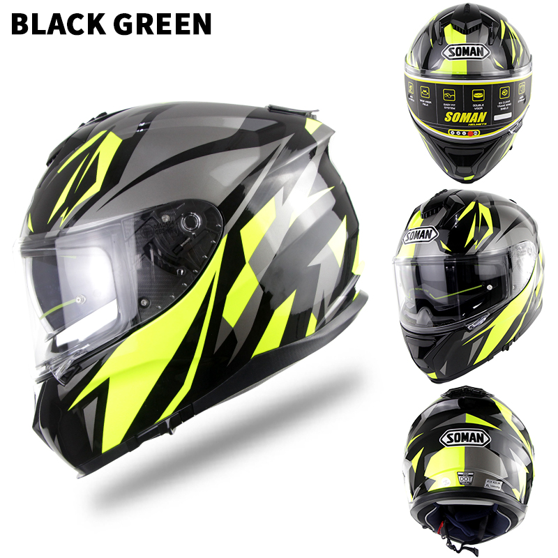 Motorcycle Racing Helmet Outdor Riding Helmet Men and Women Motorcycle Helmet Double Lenses Compatiable with Glasses Safe ECE Standard Helmet Motorcycle Accessaries shine_S