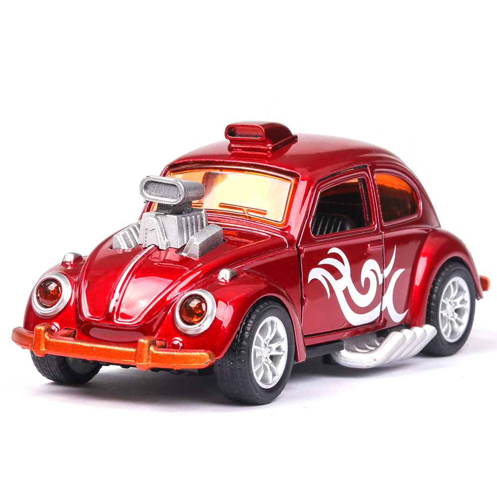 Simulate 1:36 Retro Beetle Car Model Upgrade Alloy Baking Decoration red