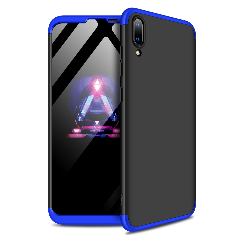 For HUAWEI Y7 2019 Ultra Slim PC Back Cover Non-slip Shockproof 360 Degree Full Protective Case Blue black blue