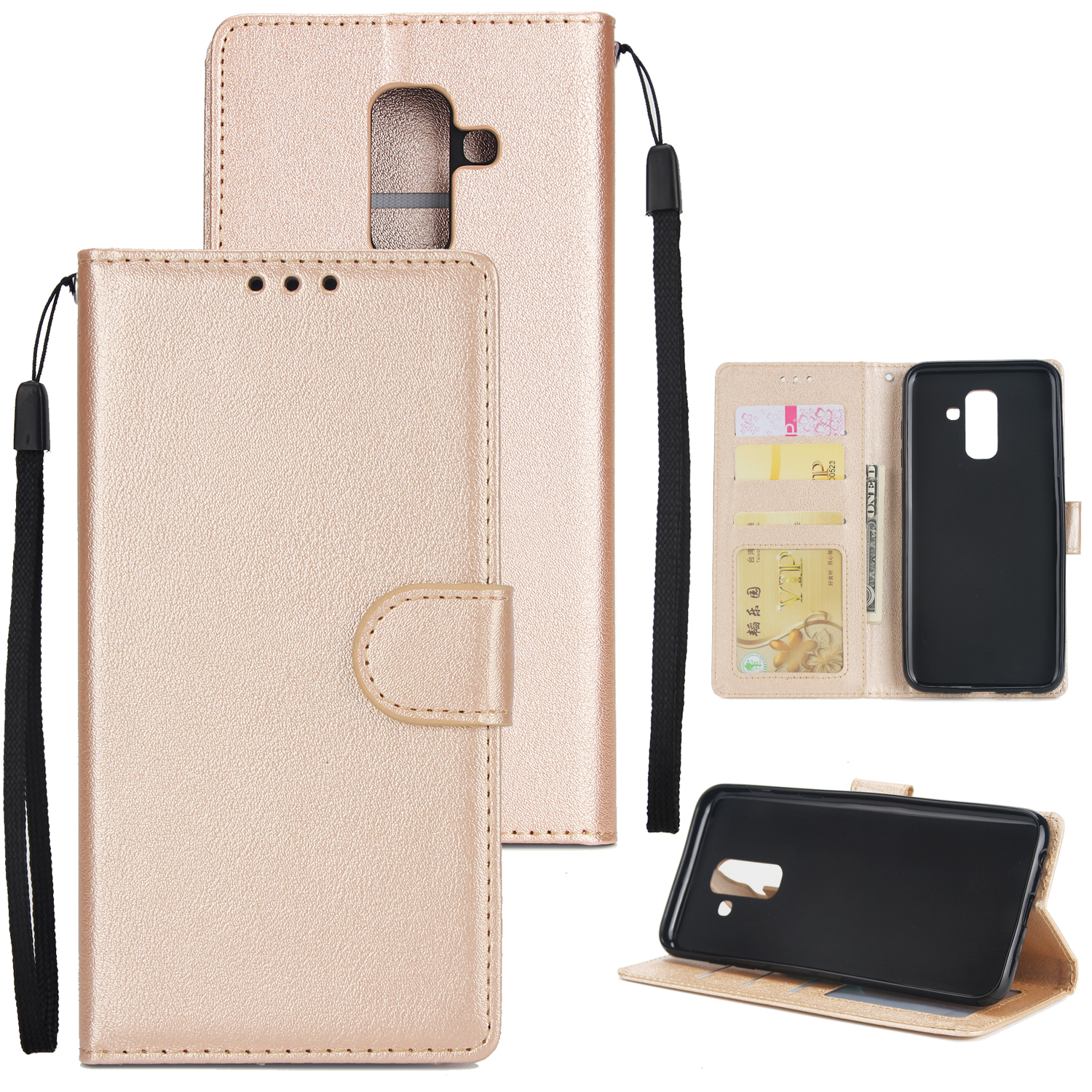 For Samsung A6 PLUS 2018 Flip-type Leather Protective Phone Case with 3 Card Position Golden