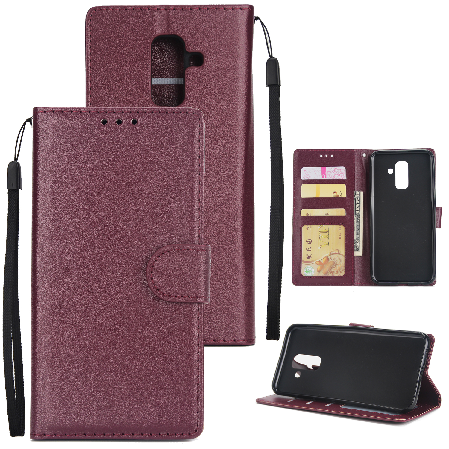 For Samsung A6 PLUS 2018 Flip-type Leather Protective Phone Case with 3 Card Position wine red