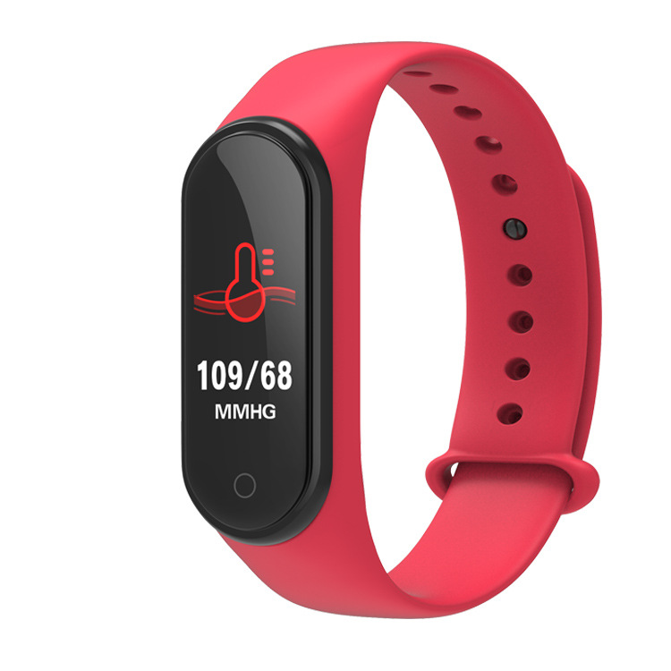 M4 Smart Bracelet Color Screen Intelligent Watch Heart Rate Activity Blood Pressure Monitor Step Count Fitness Wristband  red