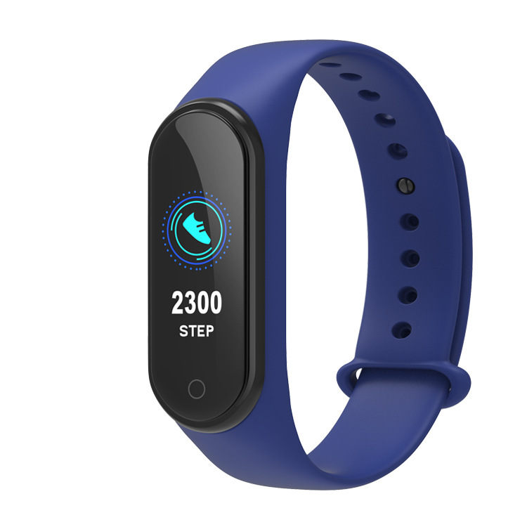 M4 Smart Bracelet Color Screen Intelligent Watch Heart Rate Activity Blood Pressure Monitor Step Count Fitness Wristband  blue