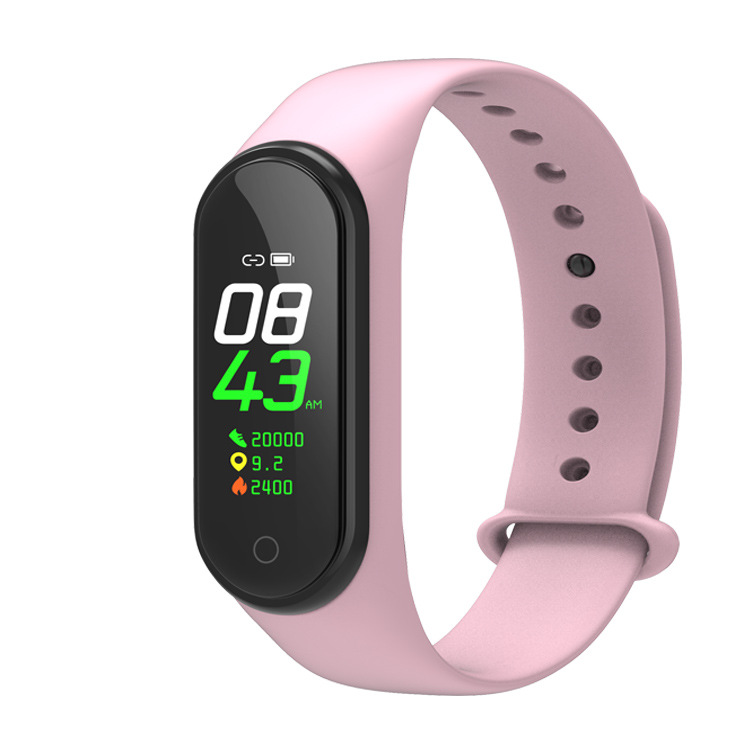 M4 Smart Bracelet Color Screen Intelligent Watch Heart Rate Activity Blood Pressure Monitor Step Count Fitness Wristband  pink