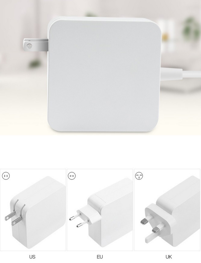 Replacement Power Adapter Charger for Apple MacBook Pro with L-Tip Shaped Magnetic Connector Foldable Plug