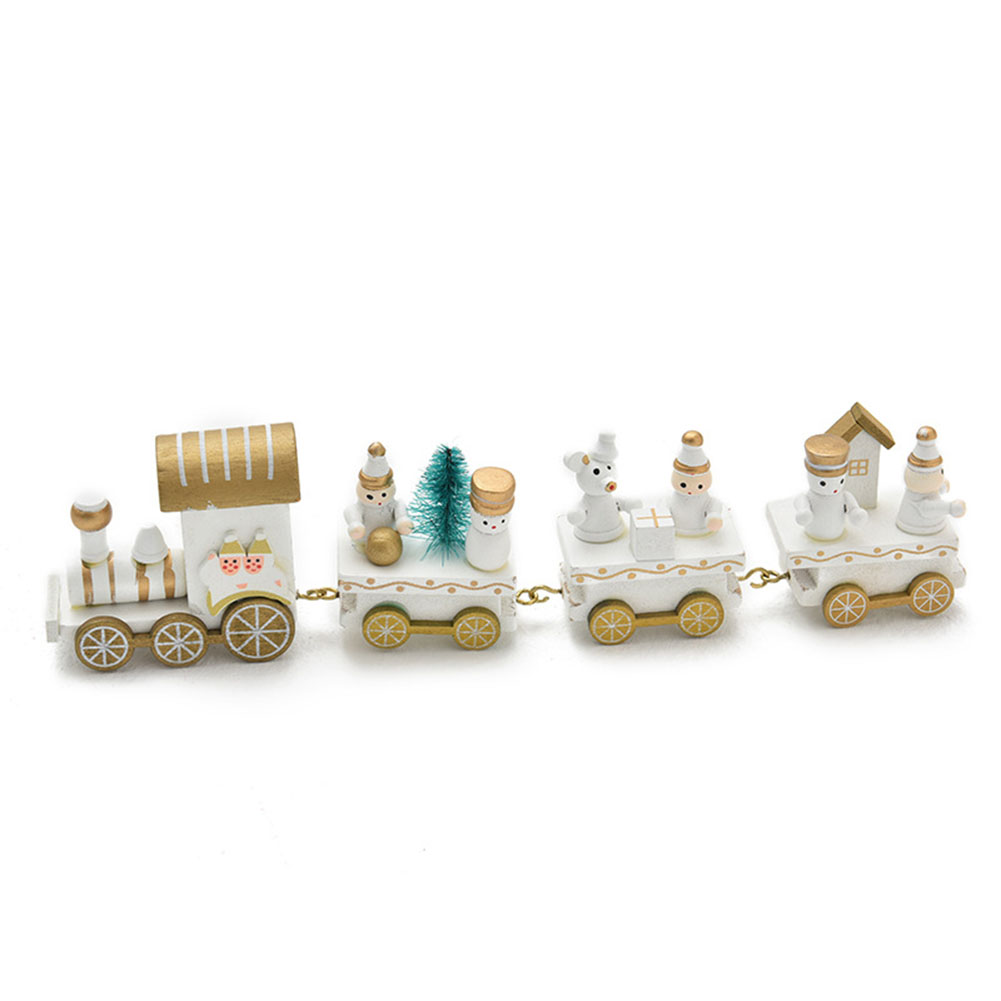Wooden Little Train Shape Craft Decoration for Christmas 4  joints three whites