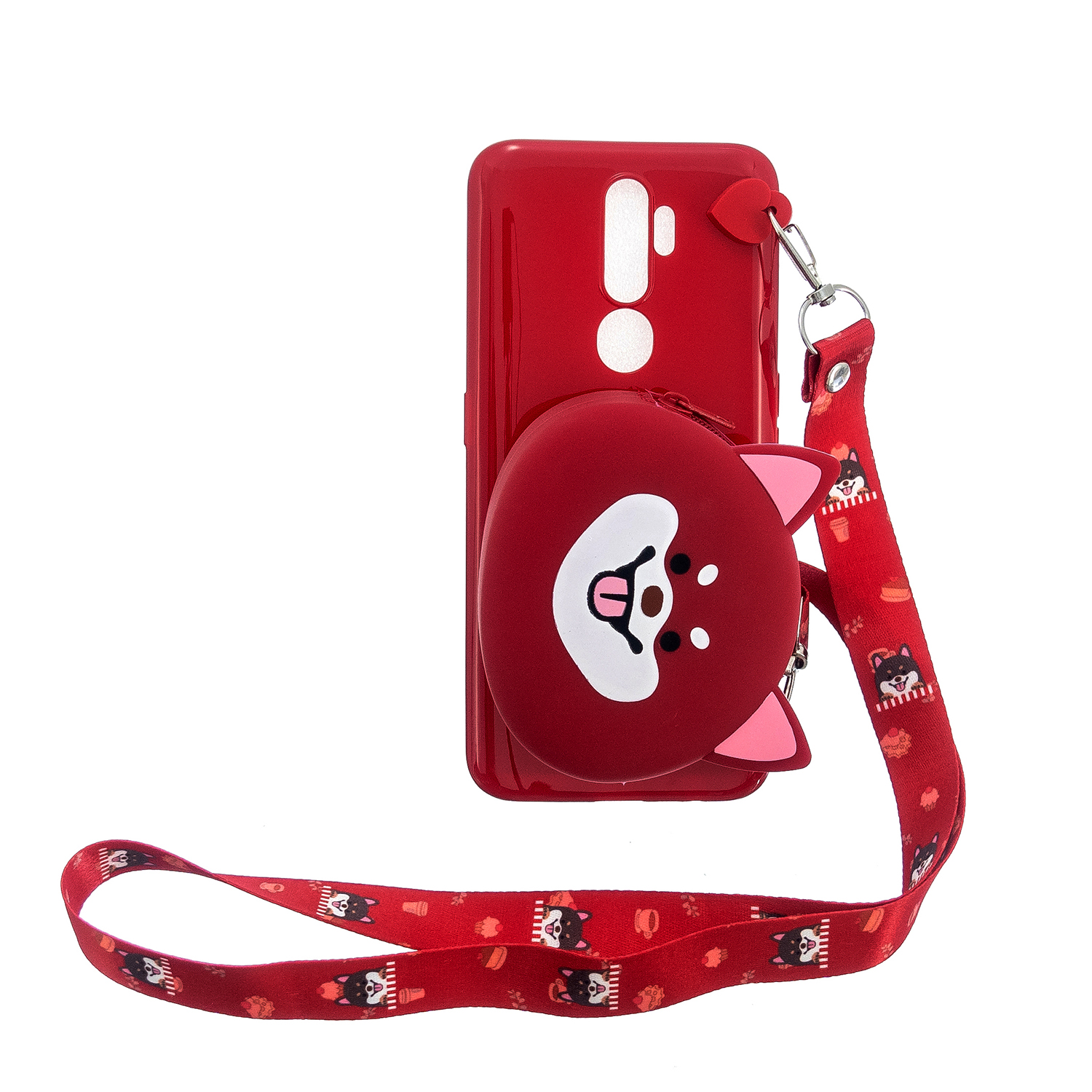For OPPO A83/A9 2020 Cellphone Case Mobile Phone TPU Shell Shockproof Cover with Cartoon Cat Pig Panda Coin Purse Lovely Shoulder Starp  Red