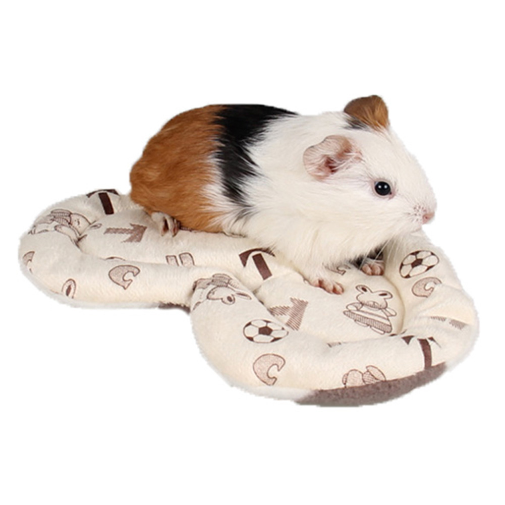 Heart Shape Pet Hamster Mats Soft Plush Guinea-pig Cage Cushion Pads Winter Warm Squirrel Hedgehog Rabbit Nest Bed Beige