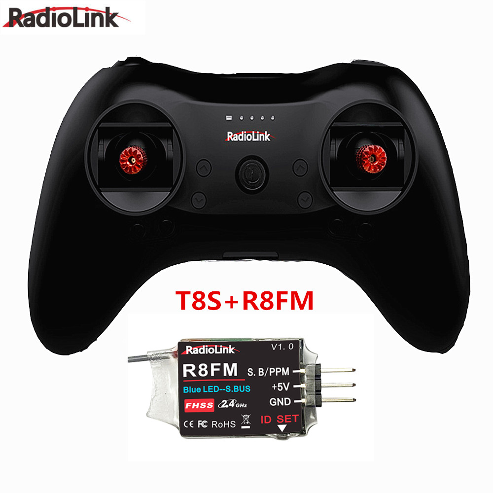 T8S 8CH RC Radiolink Remote Controller Transmitter 2.4G with R8EF or R8FM Receiver Handle Stick for FPV Quad Drone Airplane Car T8S+R8FM left-hand throttle