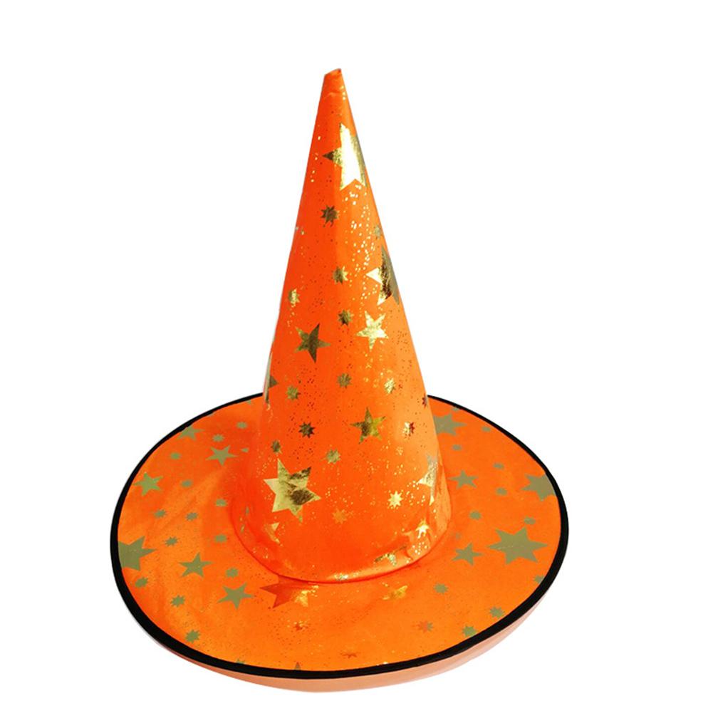 Children Adult Halloween Cosmetic Ball Party Pentagonal Magic Wizard Cap Witch Hat Orange color star hat_38*36cm