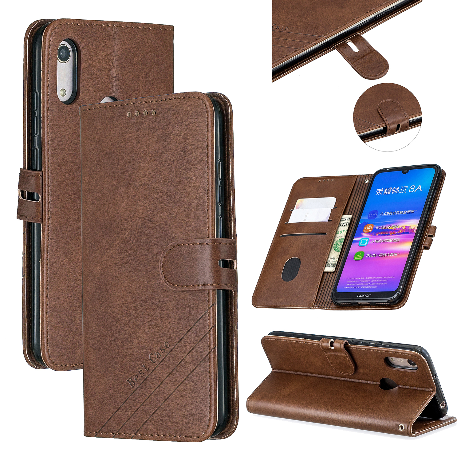 For HUAWEI Y6 2019 Denim Pattern Solid Color Flip Wallet PU Leather Protective Phone Case with Buckle & Bracket brown