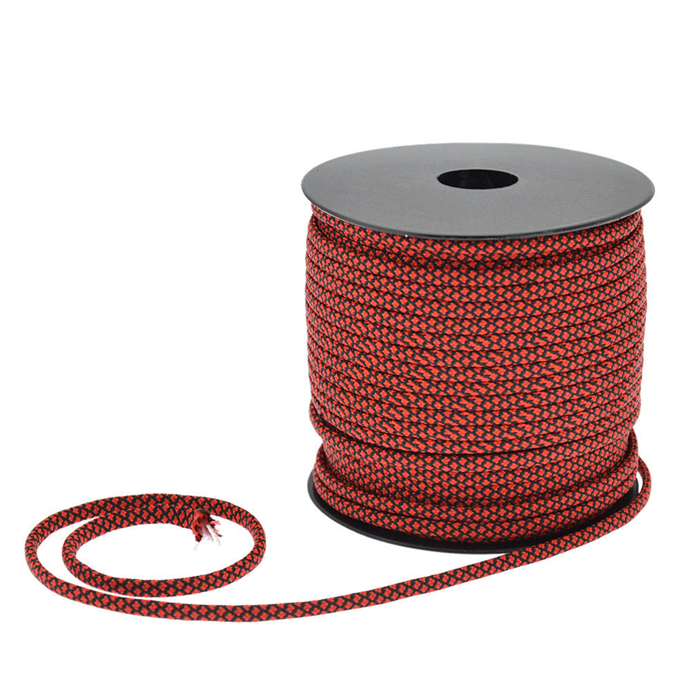 4mm 50 Meters Umbrella Rope 7 Strands Multi-function Rope Outdoor Camping Tent Traction Braided Rescue Binding Climbing Rope Red black
