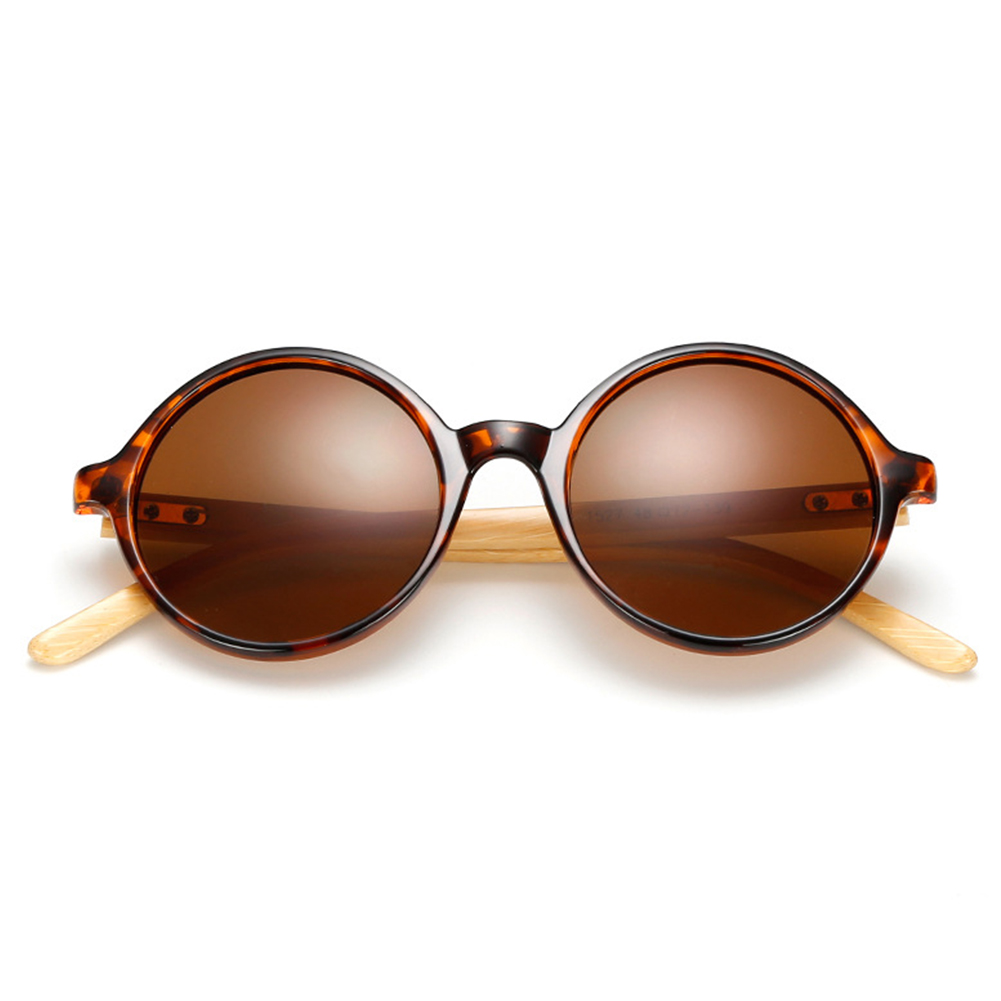 Fashion Retro Round Bamboo Leg Driving All-match Sunglasses