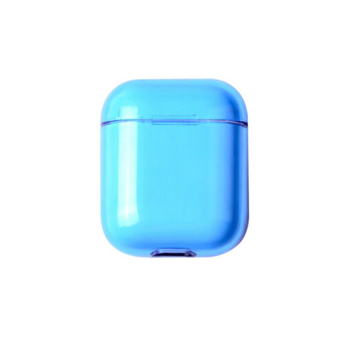 For Apple AirPods Transparent Case Cover AirPod Candy Color Hard PC Protector blue