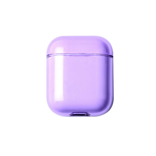 For Apple AirPods Transparent Case Cover AirPod Candy Color Hard PC Protector purple