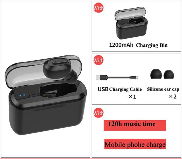Bluetooth Earphone Sports Wireless Mini HiFi Handsfree Headphone Stereo Sound Earbuds Gaming Headset with Charging Box black