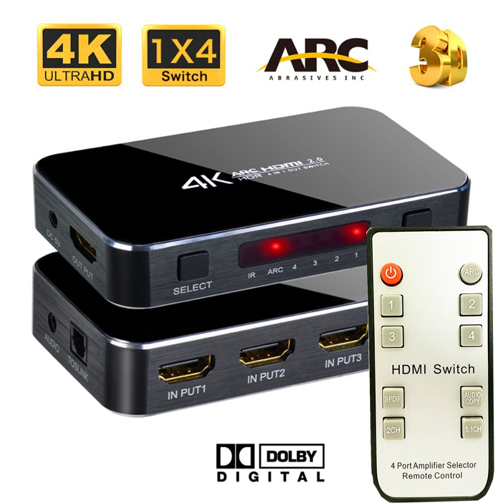 4X1 HDMI 2.0 Switcher with Audio Function Support HDCP 1.4 4K 60 HZ HDMI (Black)