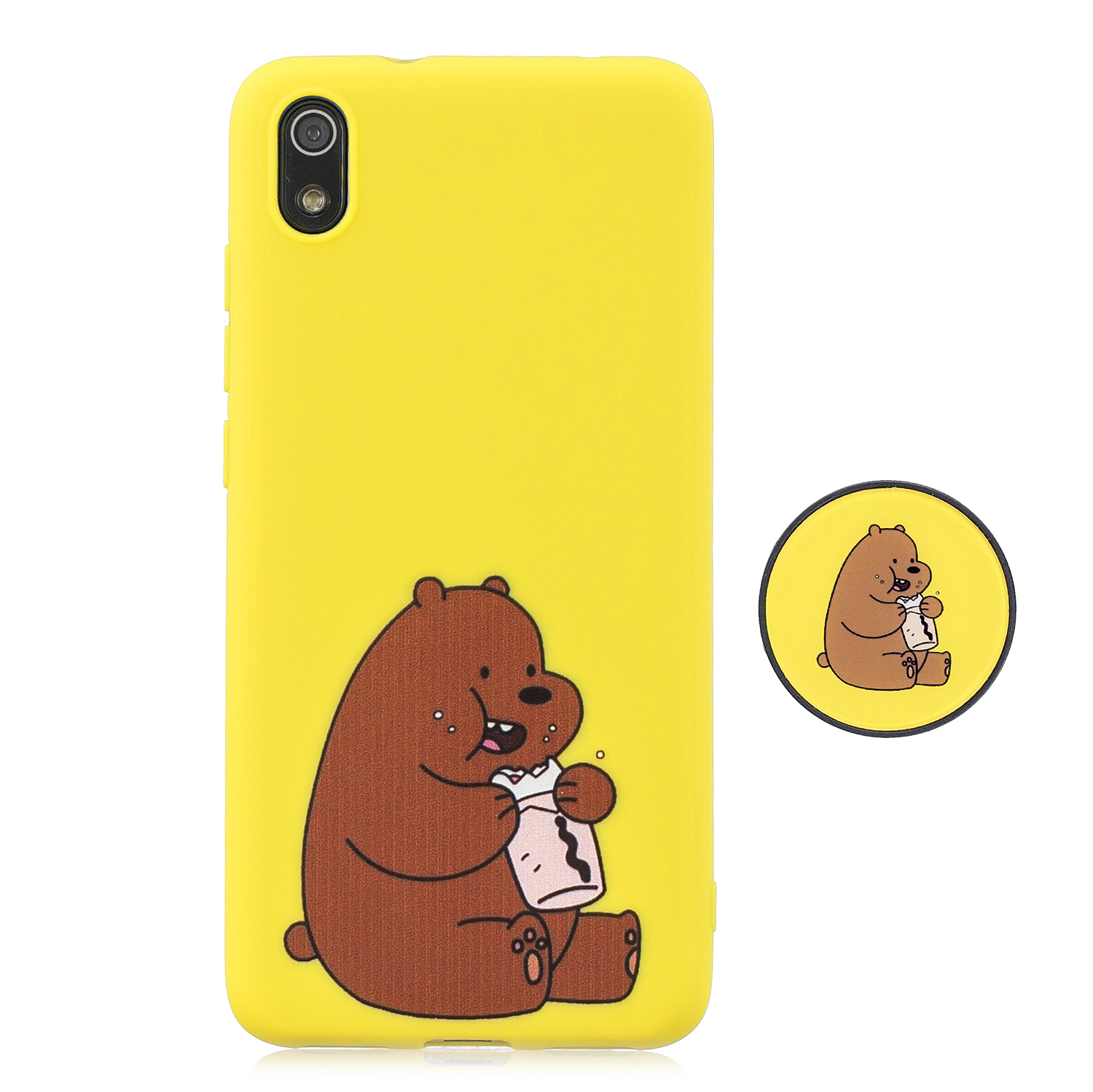 For Redmi 7A Soft TPU Full Cover Phone Case Protector Back Cover Phone Case with Matched Pattern Adjustable Bracket 8