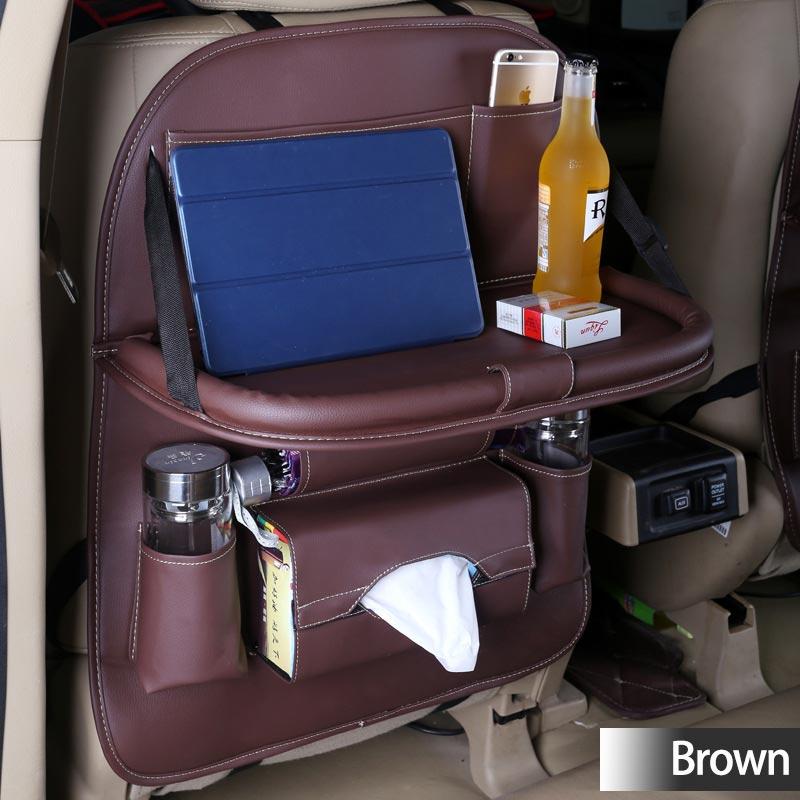 Practical Car Fold Dining Rack Storage Bag Tissue Box Hanging Bags Dining table - dark coffee