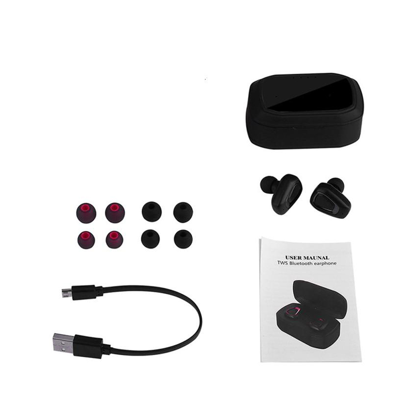 Black and Silver Wireless Sport Earbuds Headset Bluetooth HIFI In-Ear Stereo Headphones