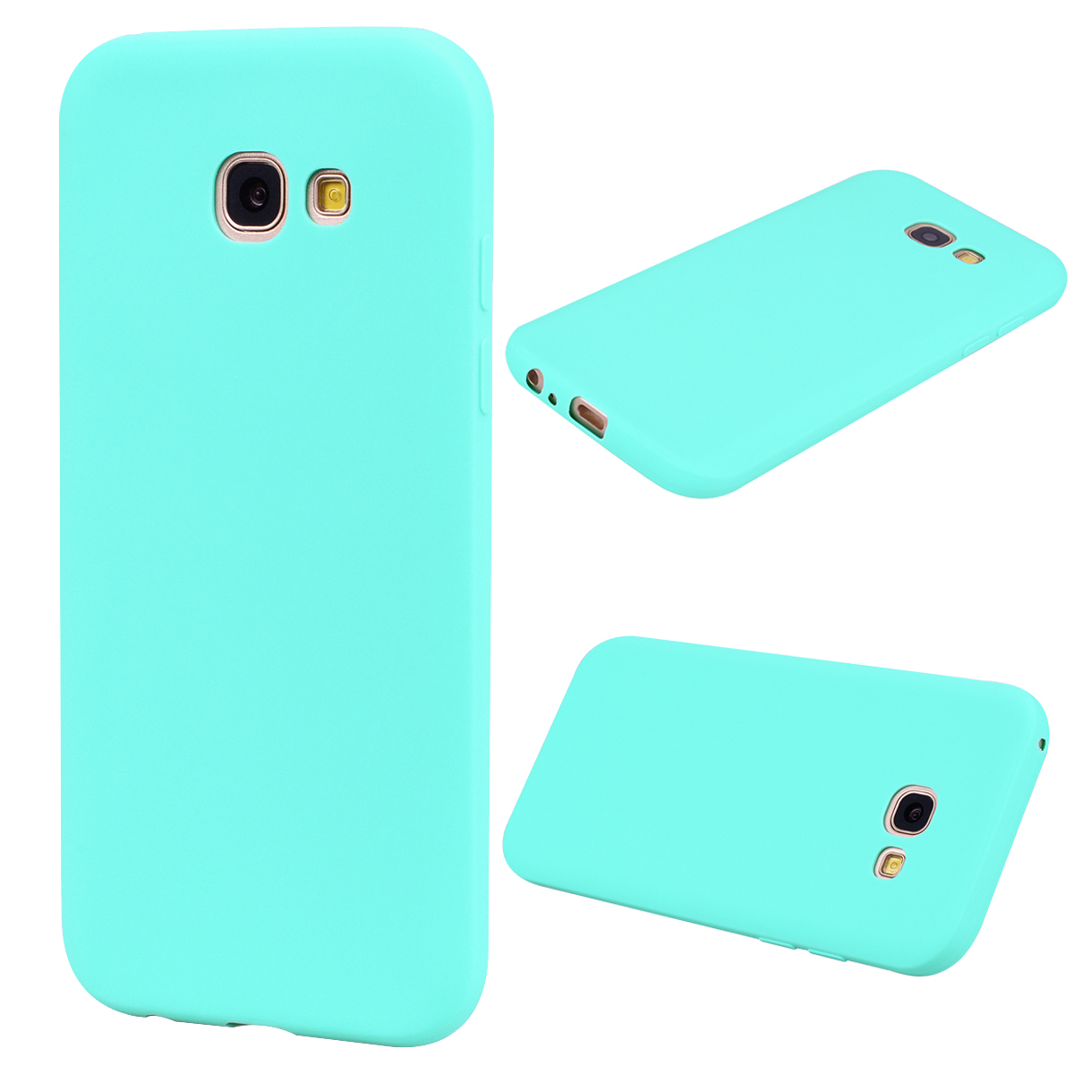 for Samsung A5 2017 Cute Candy Color Matte TPU Anti-scratch Non-slip Protective Cover Back Case Light blue