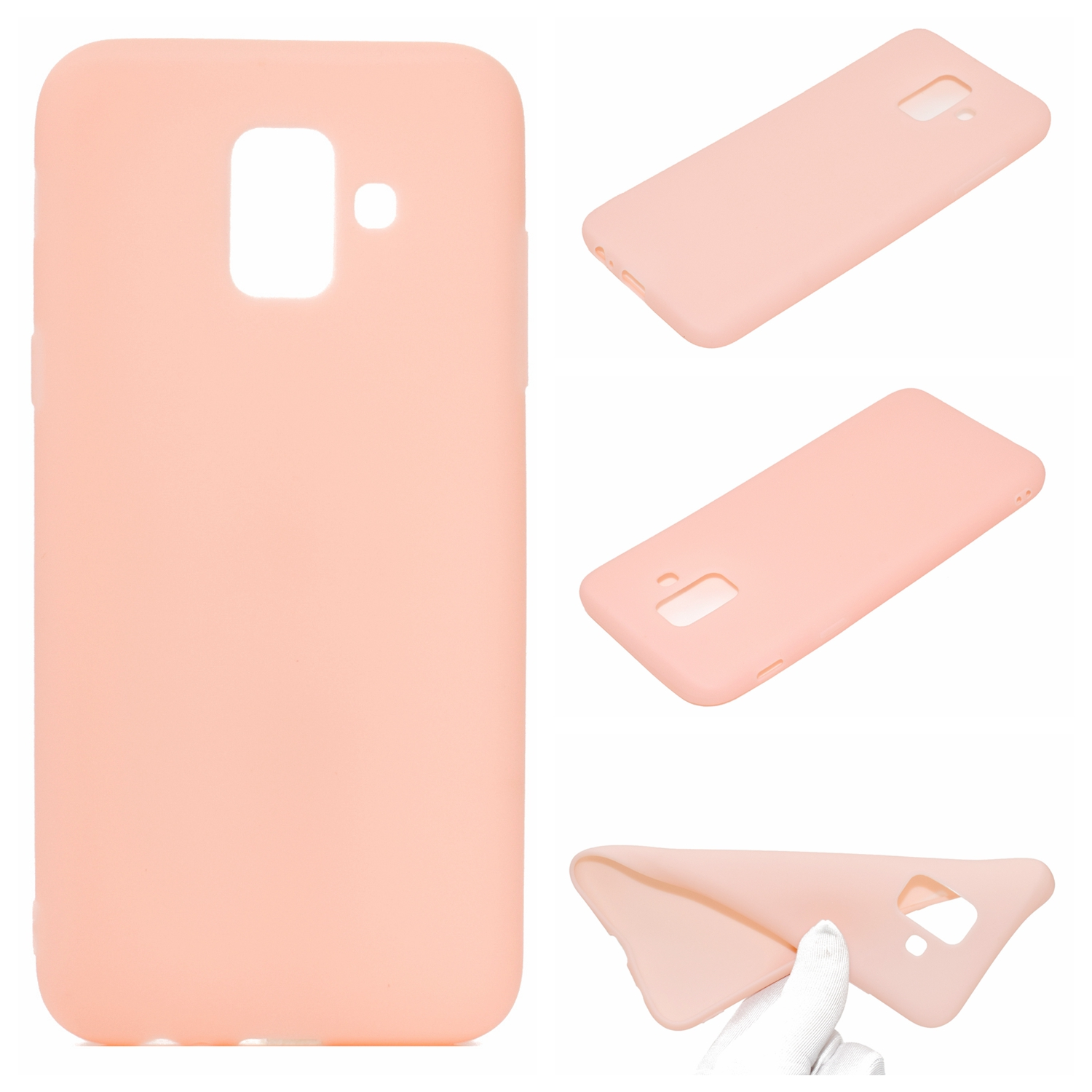 for Samsung A6 2018 Lovely Candy Color Matte TPU Anti-scratch Non-slip Protective Cover Back Case Light pink
