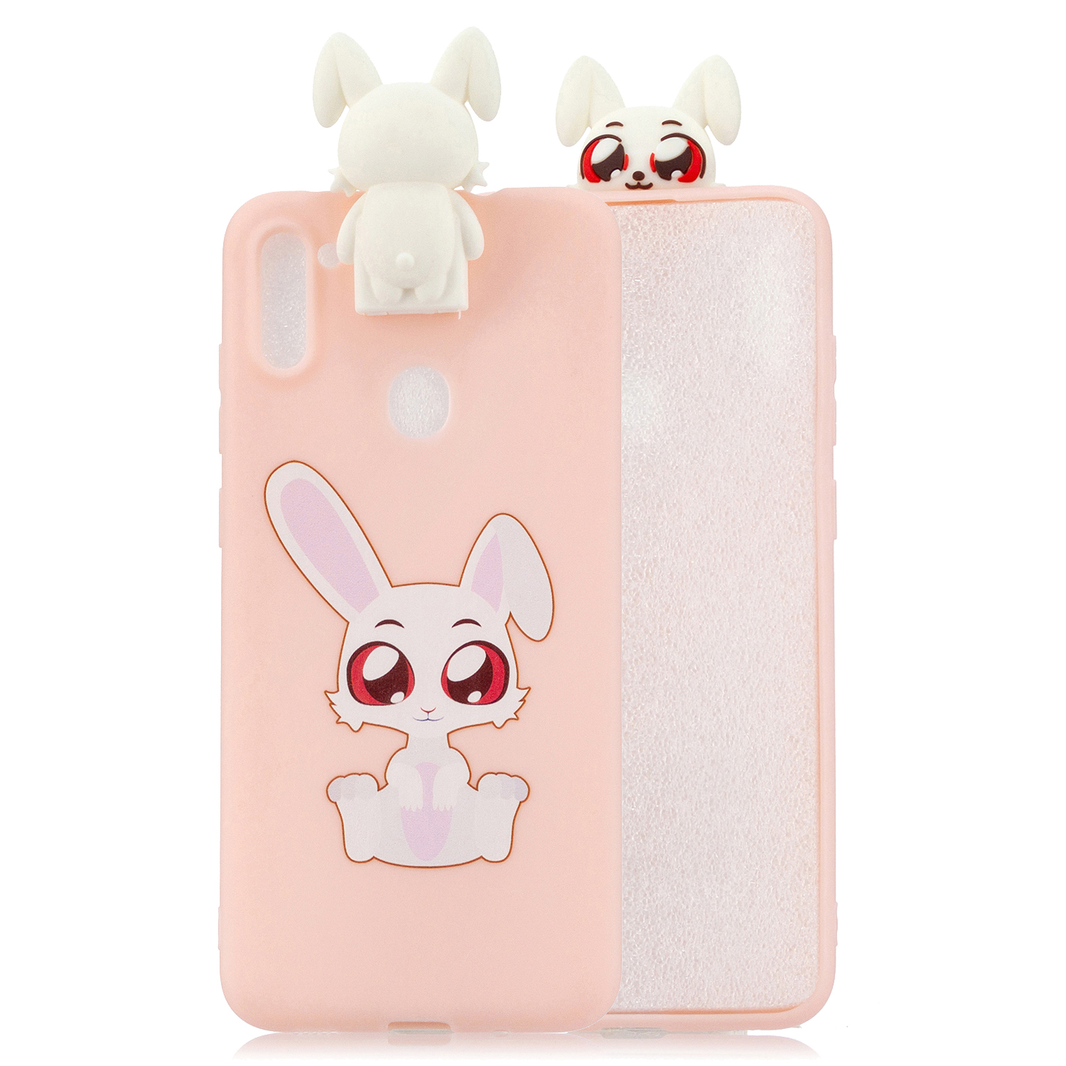 For Samsung A11 Soft TPU Back Cover Cartoon Painting Mobile Phone Case Shell with Bracket big eared rabbits