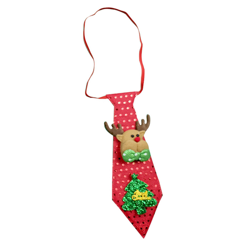 Christmas Tie LED Glow Santa Claus Snowman Elk Bear Sequins Cute Necktie for Children Adult Glow Elk