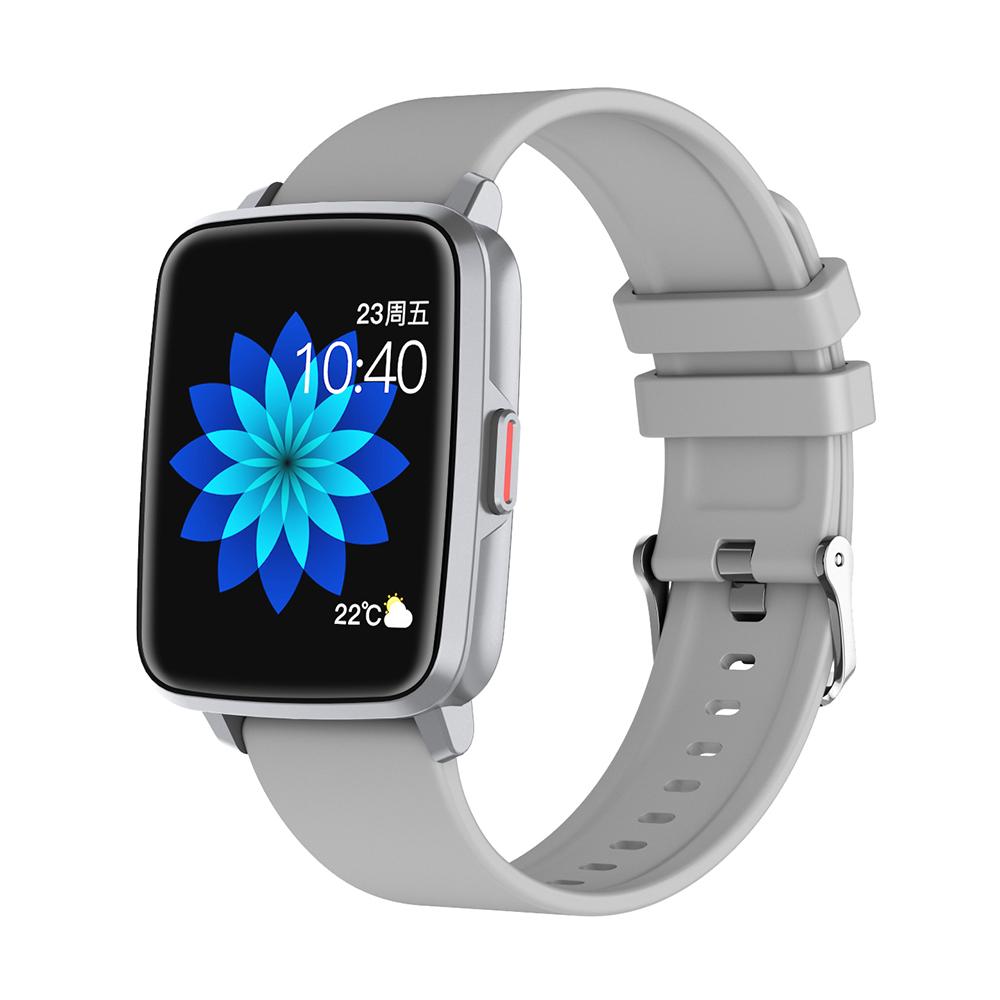 Smart  Watch Hd Screen Music Ip68 Waterproof Sports Monitoring Heart Rate Sleep Pedometer Smart Watch Silver rubber belt