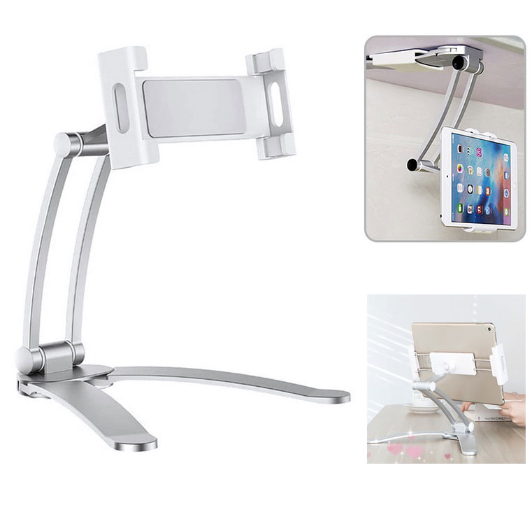 2 in 1 Flexible Lazy Bracket Pull-Up Desktop/Wall Cell Phone Tablet Holder Stand Adjustable Mount Silver
