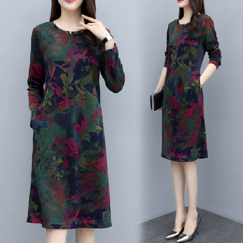 Long Sleeves and Round Neck Dress with Floral Printed Casual Loose Dress for Woman Green elephant flower_XL