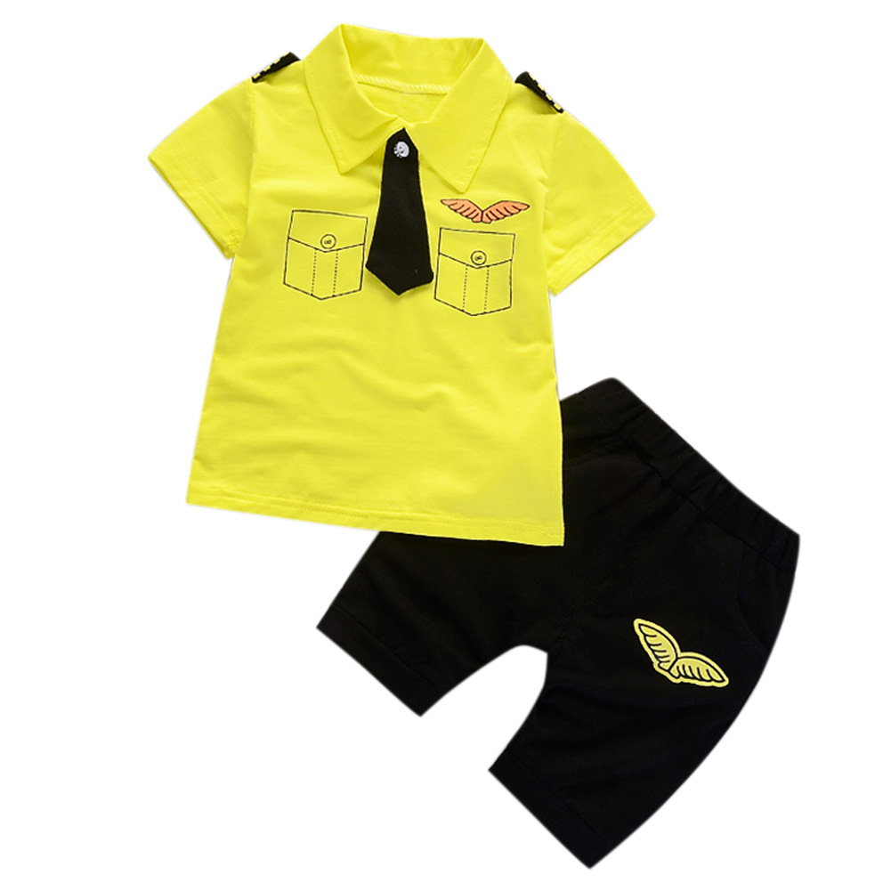 2 Pcs/Set Baby Boys Gentleman Set Tie Epaulettes T-shirt + Shorts yellow_100cm