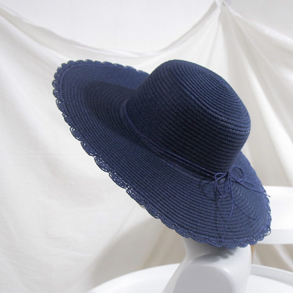 Women Summer Folding Sunscreen Wide Brim Cap with Bowknot for Seaside Beach