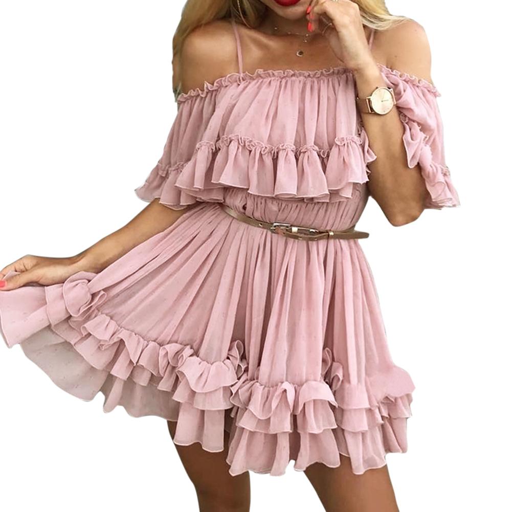 Women Summer Pleated Off-shoulder Chiffon Lotus Leaf Sweet Style Dress