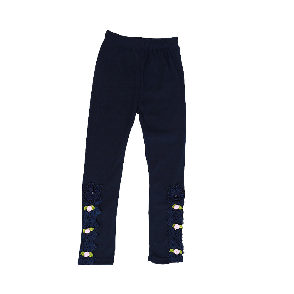 Baby Leggings For 3-9 Years Old Soft Girl Pants Cotton Lace Embroidery Cotton Leggings Dark blue_130cm