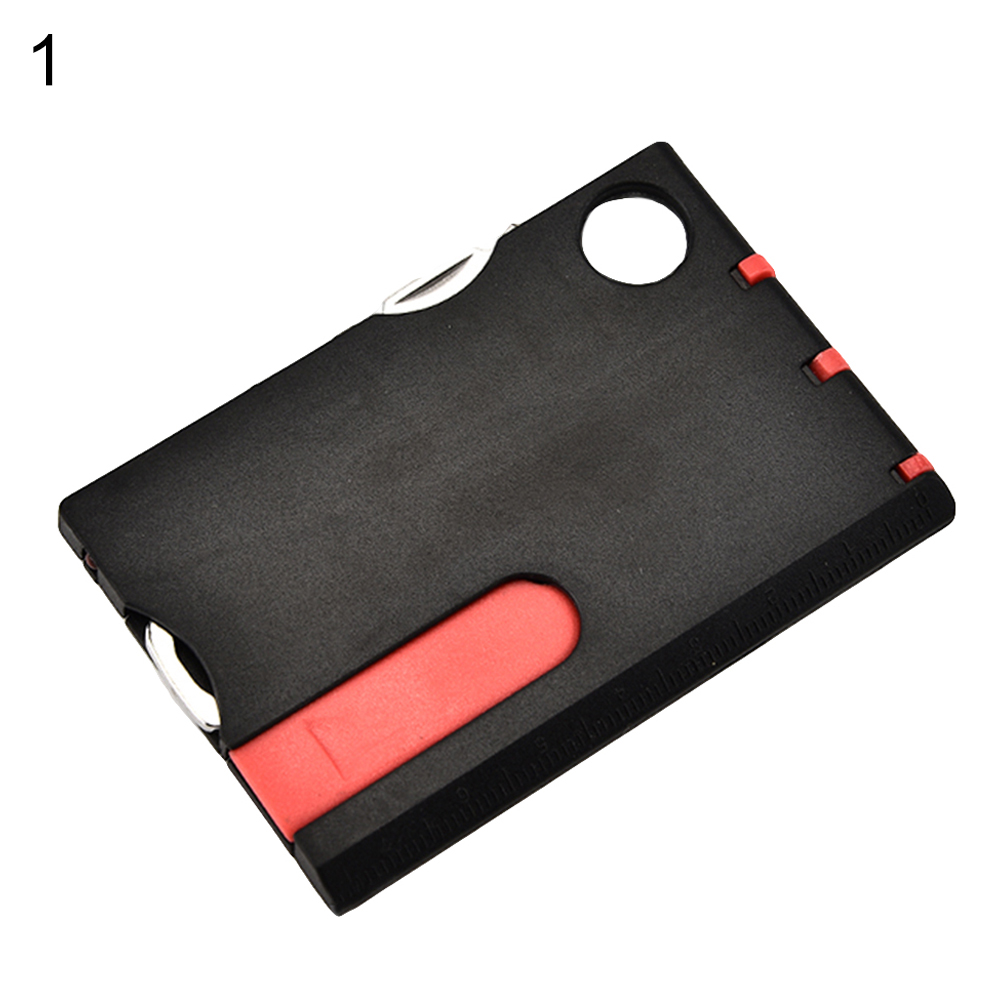 12 IN 1 Credit Card Tool Cutter Blade Business Card Cutter Opaque black (black + red)