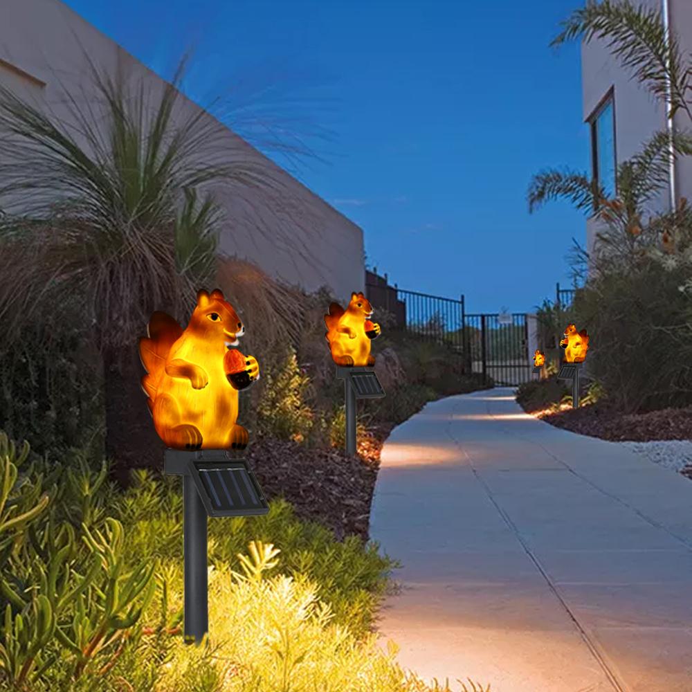 LED Solar Lawn Light Squirrel Shape Outdoor Landscape Lamp Garden Decor