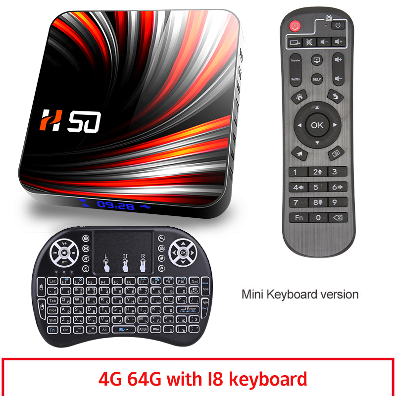 For Android Tv  Box Android 10.0 4k 4gb 32gb 64gb Media Player 3d Video Smart Tv Box 4+64G_British plug+I8 Keyboard