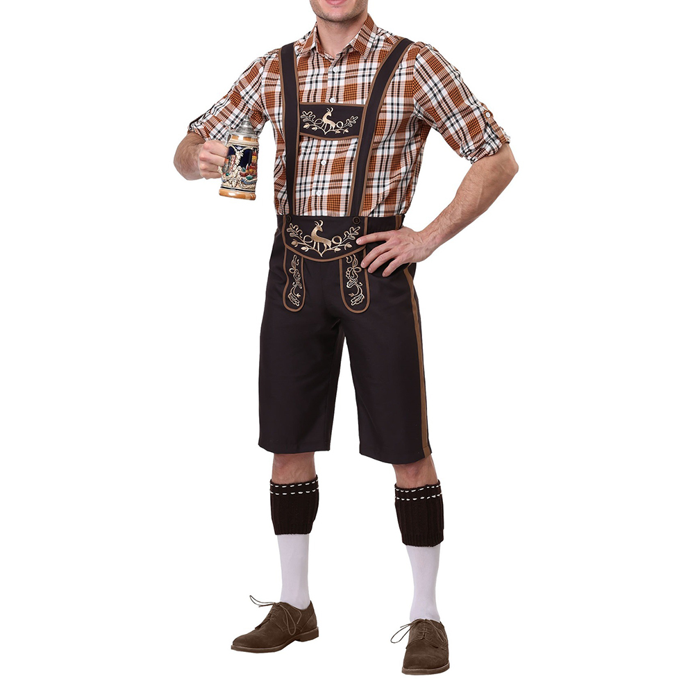 Men Cosplay Bavarian Traditional Suits Plaid Shirts + Suspender Pants+ Cap Clothes Coffee_L