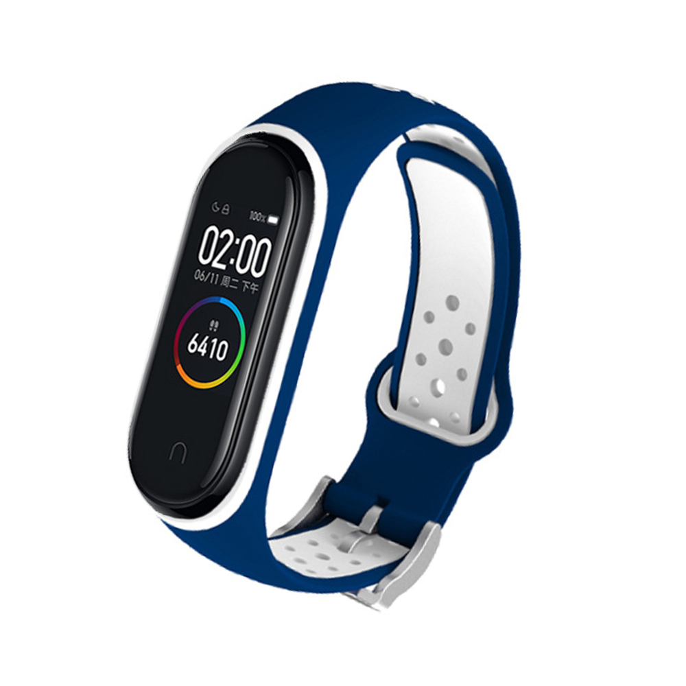 M4 Plus Color Screen Smart Bracelet Heart Rate Monitor Fitness Activity Tracker Smart Band Blood Pressure Wristwatch Blue white