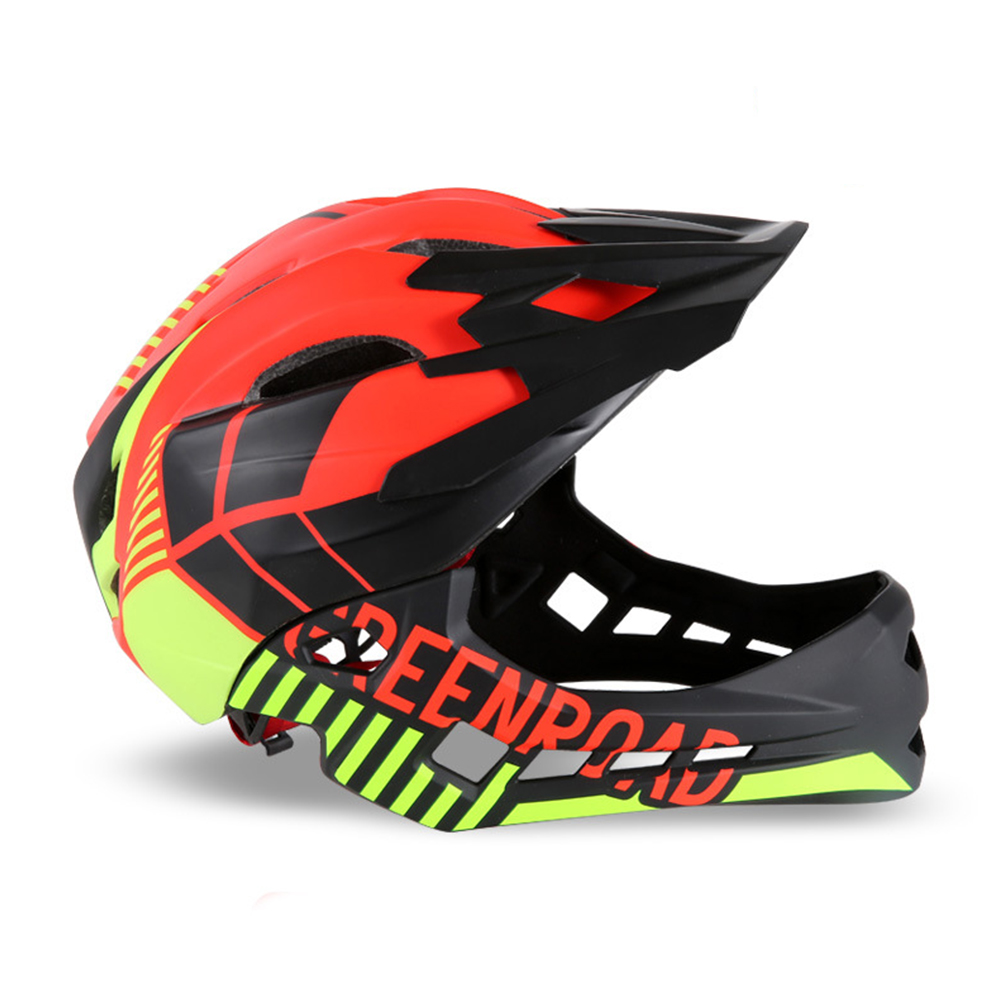 Roller Skating Helmet Children Bicycle Roler Adjustable Riding Safe Helmet Full face helmet red_M