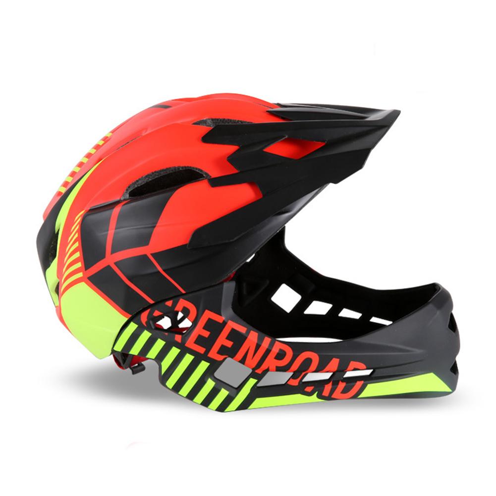 Roller Skating Helmet Children Bicycle Roler Adjustable Riding Safe Helmet Full face helmet red_S