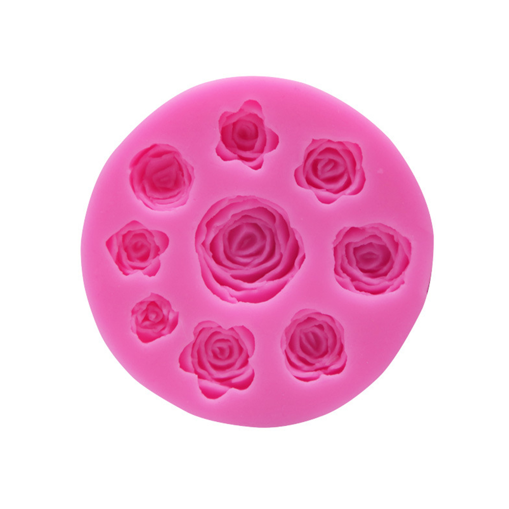 Kitchen Mold 9 Rose Flower Silicone Mold Cake Chocolate Decoration Mould Pink