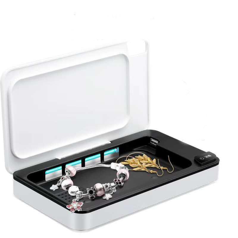 UV Light Sterilizer Cell Phone Wireless Charging Mask Sterilizer Sanitizer Cleaner Box Disinfection Case white