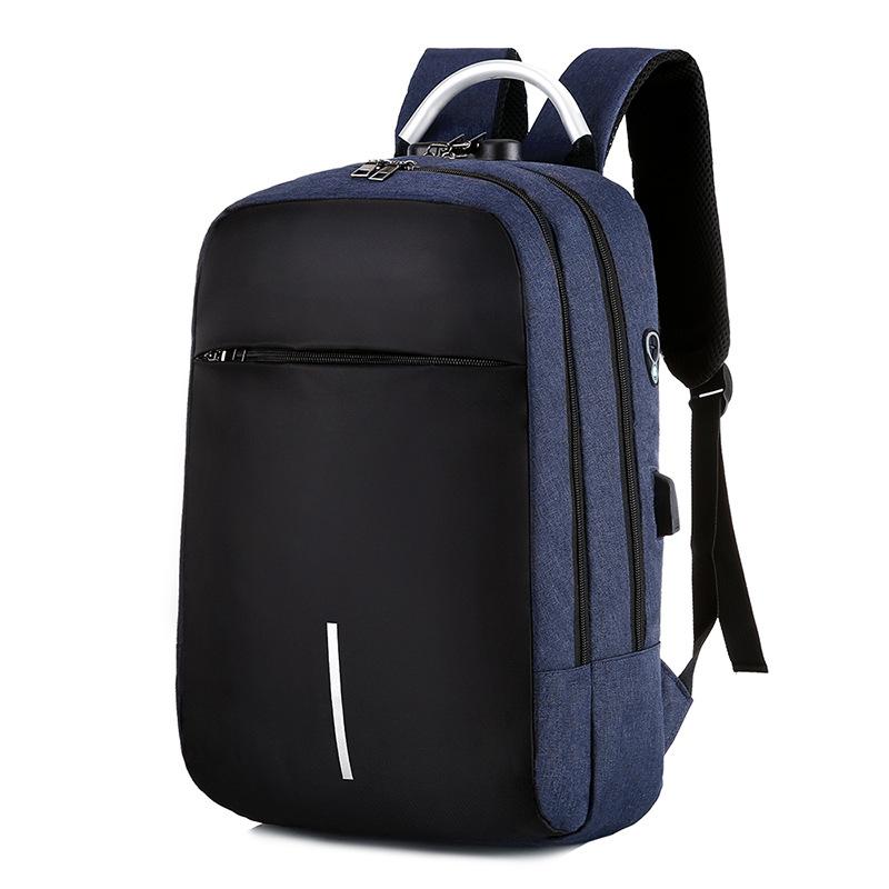 Men Women Charging Anti-theft Computer Bag Backpack Bag Lock Multi-function Backpack Travel School Bag blue