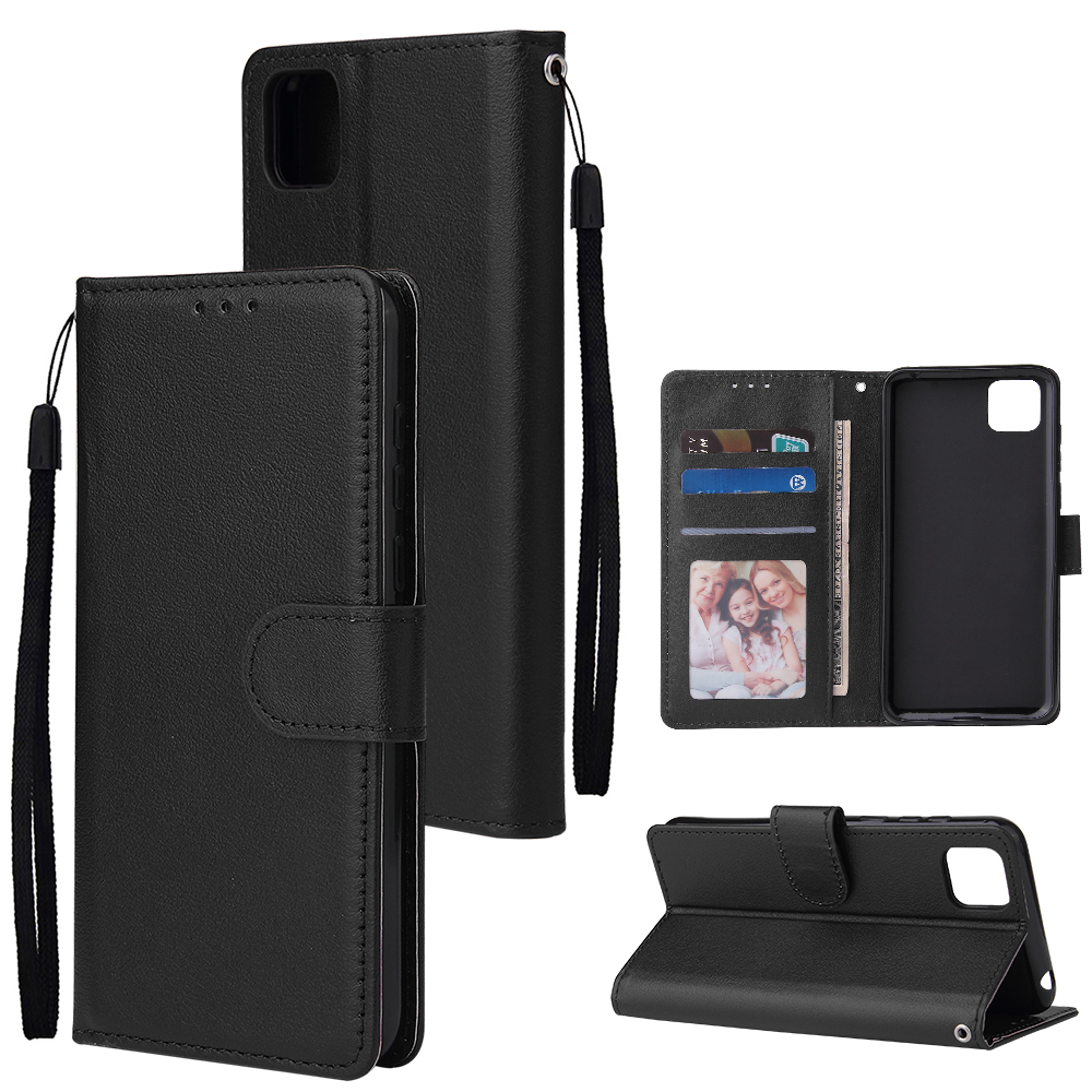 For HUAWEI PSmart 2020/Y5P/Y6P PU Leather Mobile Phone Cover with 3 Cards Slots Phone Frame black