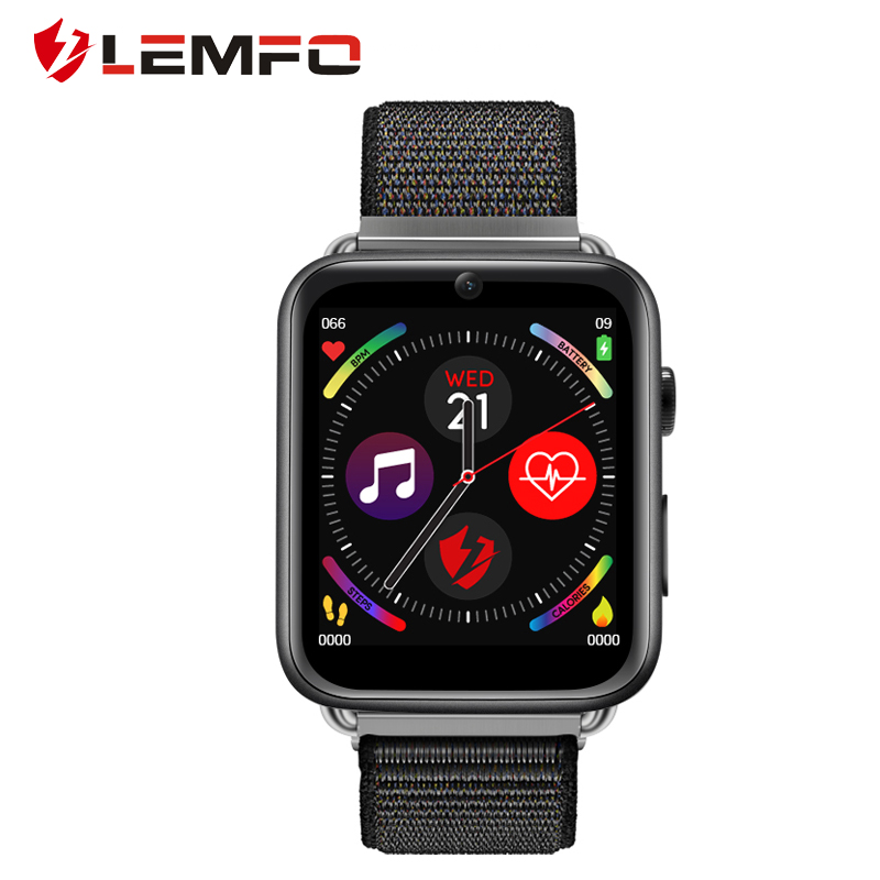 LEMFO LEM10 4G Smart Watch Android 7.1 3G RAM 32G ROM 1.88 inch Big Screen LTE 4G Sim Camera GPS WIFI Heart Rate Nylon black_32GB